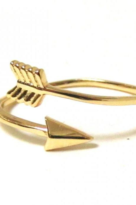 Arrow Ring - 14 Kt Gold over Sterling Silver Arrow Ring