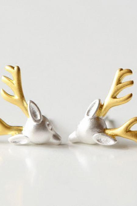 Silver plated deer head stud earrings animal stud earring deer