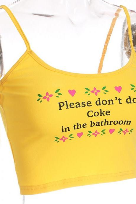 Yellow color 'Please don't do coke in the bathroom' tank top