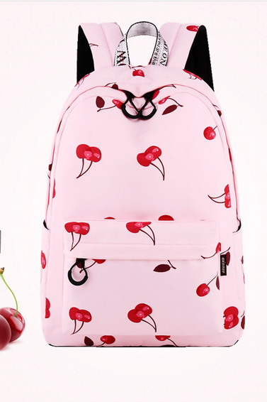 Pink Cherry Print Casual Canvas Backpack.. Pink Cherry Print Casual Canvas Backpack with Two Versions