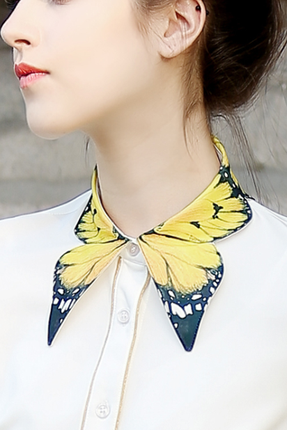 cute Butterfly collar blouse shirt