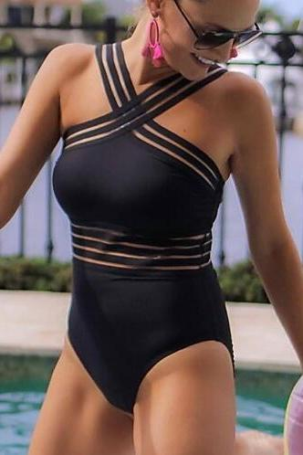 Women's Black Red One-piece Swimwear bikini