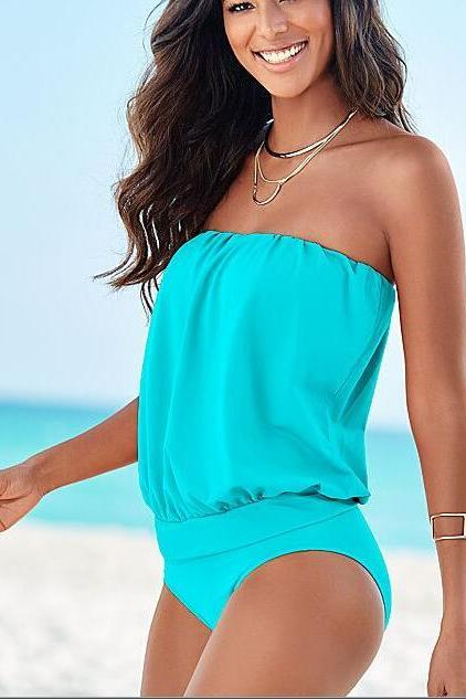 Solid Colored Backless Women's Basic Bandeau Cheeky One-piece Swimwear