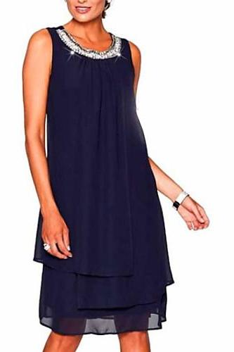 Women's Plus Size Going out Mini Chiffon Dress,Solid Colored Summer dress