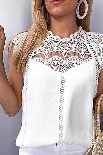 Women's Sexy Blouse,Solid Colored Lace / Chiffon blouse