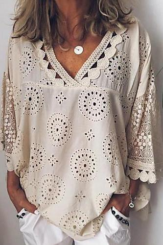 Women's shirt,Casual / Daily Plus Size Loose Shirt,Solid Colored shirt,Lace shirt,V Neck shirt