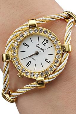 Women's Ladies Fashion Watch Bracelet Watch Diamond Watch Quartz Gold Analog Sparkle Bangle watch