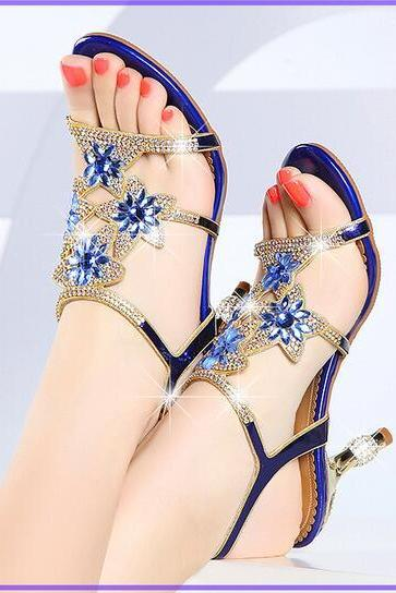 Women's Sandals,Chunky Heel Rhinestone shoes,PU(Polyurethane) Summer shoes,evening shoes,party shoes,