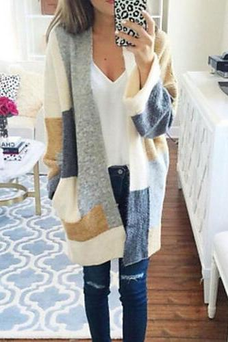 Women's Color Block Long Sleeve V Neck Cardigan sweater