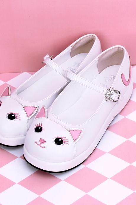 Cute Lolita Cosplay White Cat Shoes