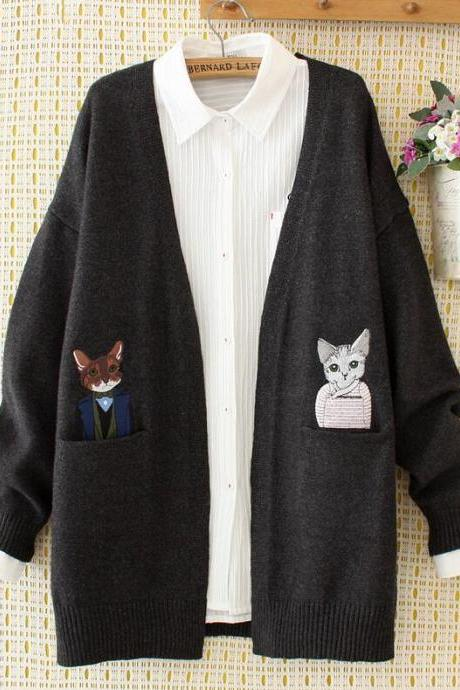Two cats embroidery cardigan sweater
