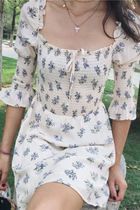 Vintage style rice bottom lavender floral bow dress