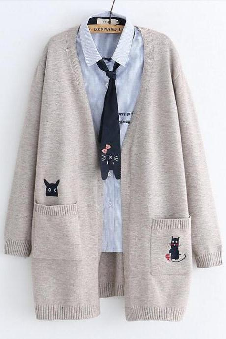 Loose cats embroidery sweater cardigan
