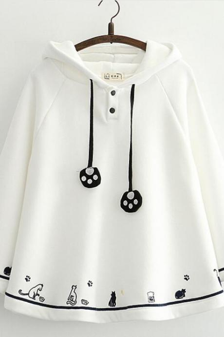 Cat claw woolen hoodie sweater coat