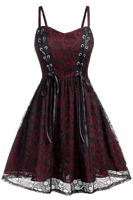 Vintage Gothic Lace Patchwork Women Spaghetti Strap Dress Goth Vampire Witch Dresses Medieval Renaissance Cosplay