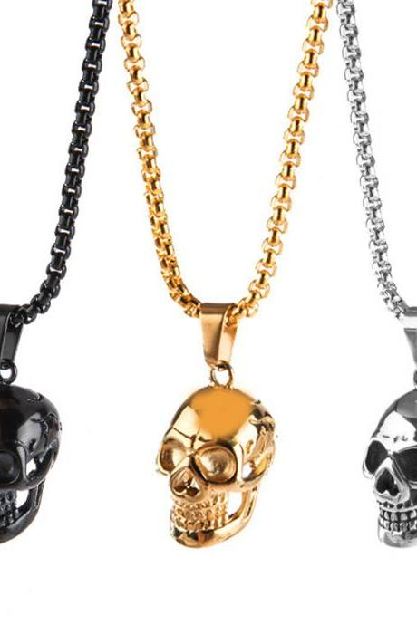 Punk Skull Men Necklace Trendy Stainless Steel Jewelry Boys Hip Hop Gothic Long Pendant Necklace