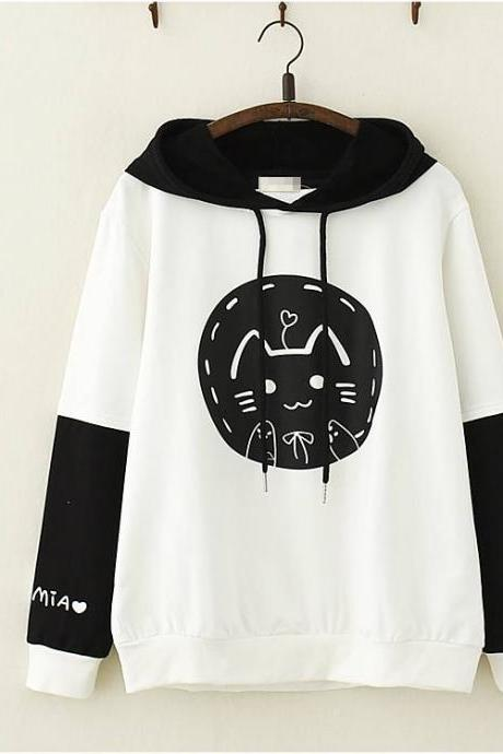 Cute cat print hoodie sweater coat