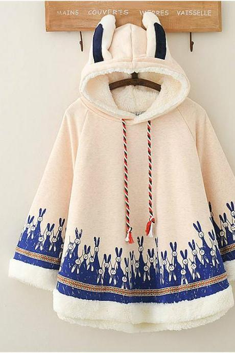 Cute rabbit hooded plus fleece warm loose coat cloak