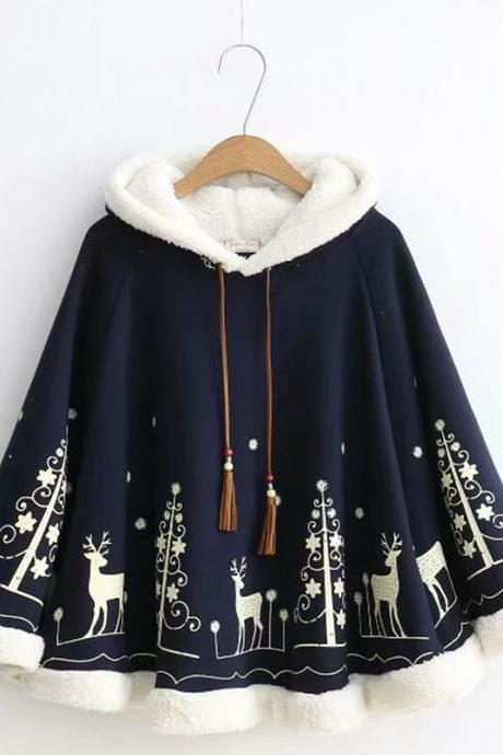 Cute Christmas tree and elk print coat