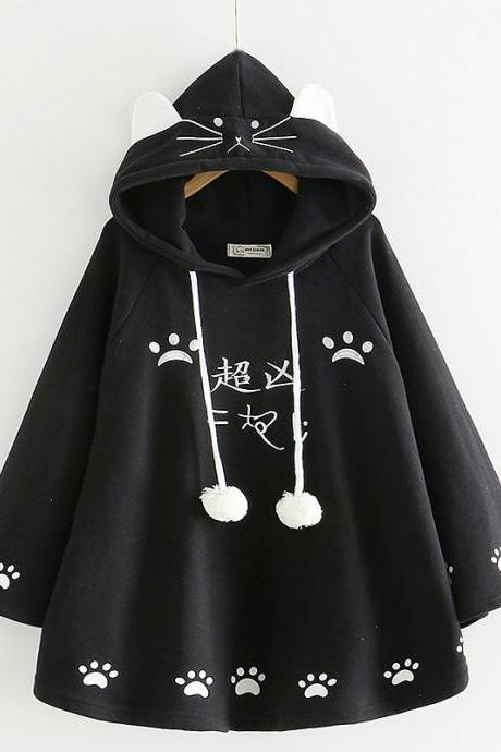 Kawaii Cat Ear Sweatshirt Japanese Cute Paws Girls Casual Outerwear Harajuku Cloak Fleece Loose Hooded