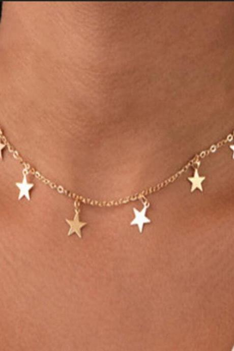Bohemian gold and silver star pendant necklace for women