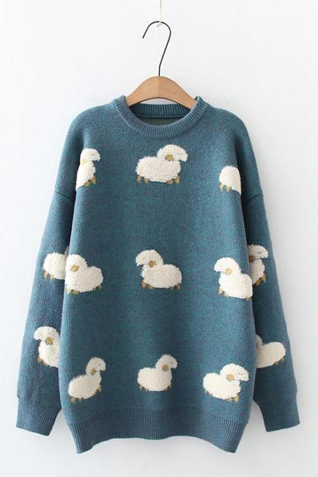 Cute white sheep embroidered sweater