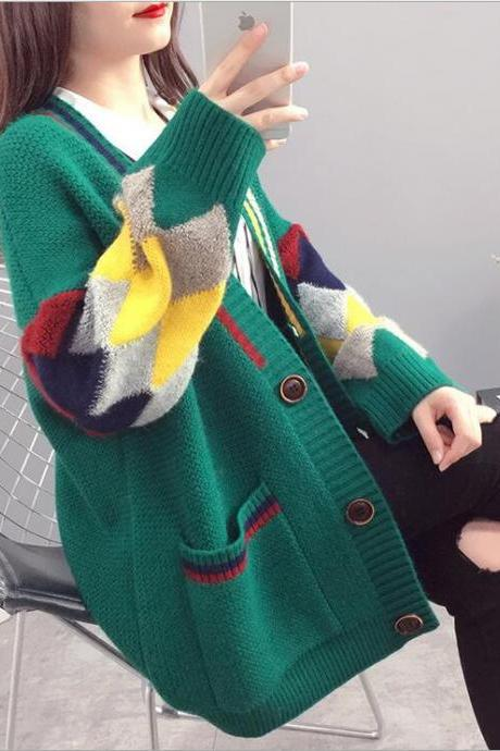 Korean loose knitted cardigan