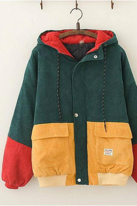 Color block corduroy padded woolen coat