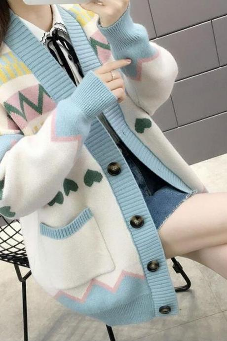 Loose love heart knitting cardigan sweater