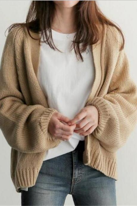 Loose solid color women's cardigan sweater