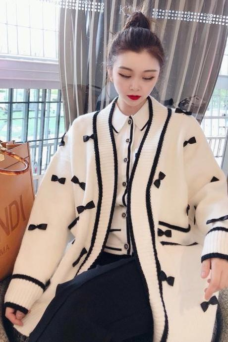 60% off Women's Mid-length V-neck Handmade Bow Knit Cardigan Sweater