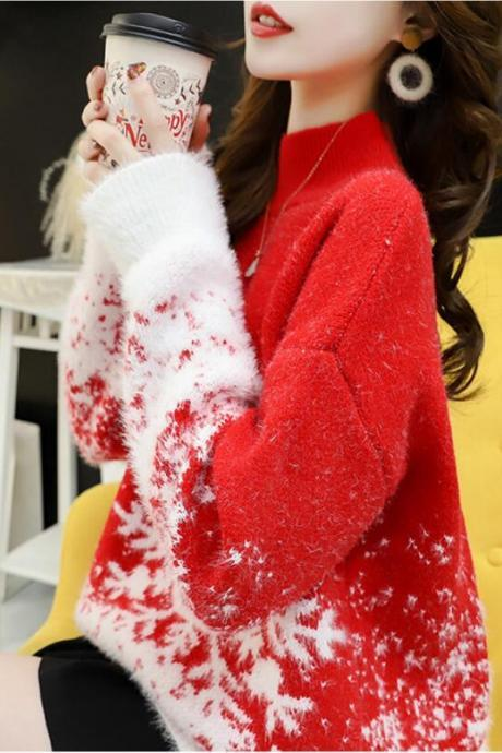 60% off Snow embroidery Loose women's Half high collar christmas sweater