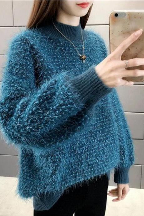 Women's solid color loose puff sleeve knitted sweater