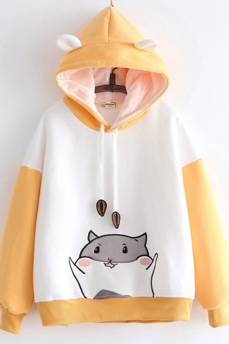 New cute hamster paw embroidered hoodie