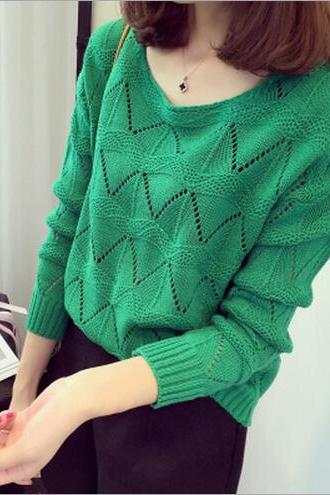 Loose Round Neck Long-sleeved Sweater Hollow