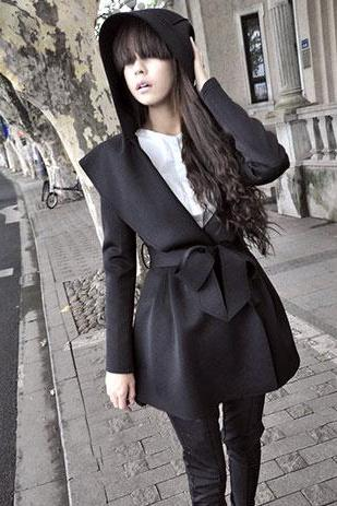 2015 Hot sale European Style Cool Elegant Lapel Hood Falbala Coat