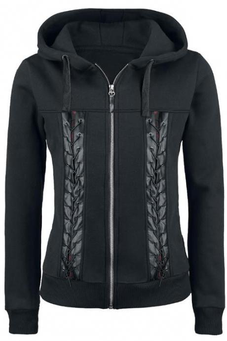 Black Punk Style Rope Stitching Hoodies Jacket
