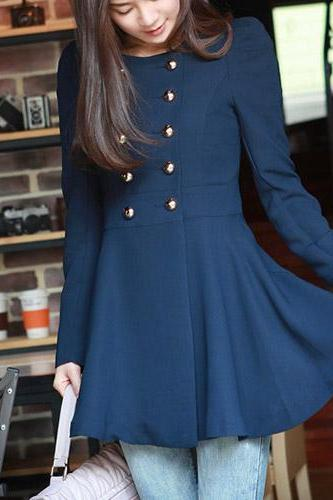 Fashion Solid Color Double-Breasted Round Neck Trance Coat
