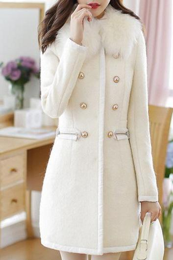 Long Sleeve Double Breasted Closure Winter Coat - White