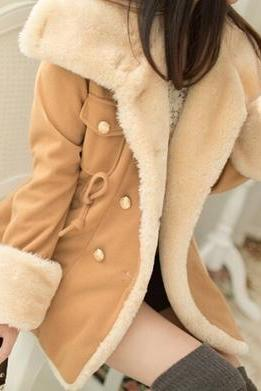 Light Tan Turn Down Collar Winter Coat