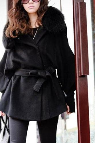 Fashion Fur Collar Solid Color Bat Sleeve Maternity Wear Oversized Coat