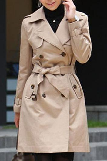 Classic Turndown Collar Long Sleeve Trench Coat - Khaki