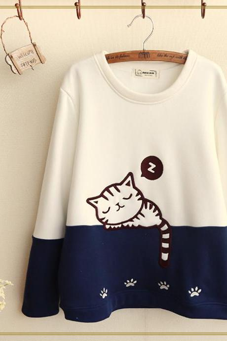 Cute Sleeping Cat Sweater