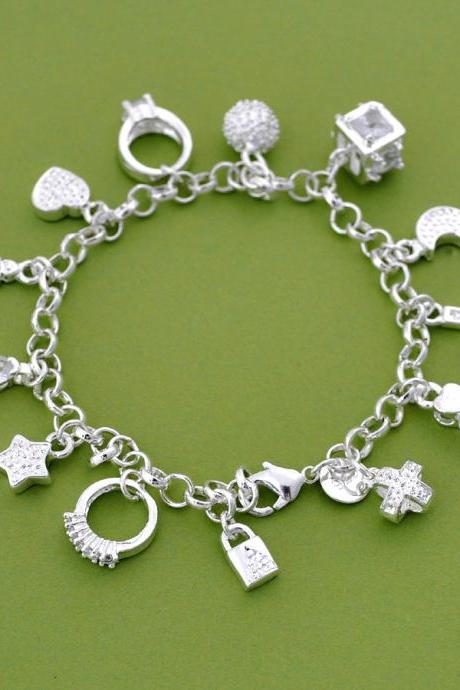 2015 christmas Silver Charm Bracelet, Cross, Ring, Star, Key, Moon, Lock, Ball, Silver Charm Jewelry