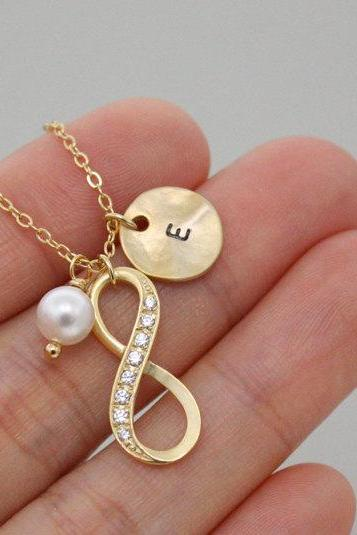 Personalized Infinity Necklace with Initial Engraved Coin and Pearl Bead , Friendship Necklace