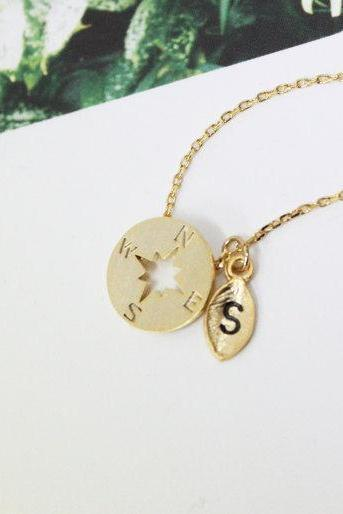 Personalized Compass Necklace Gold with Initial Engraved Leaf Nautical Jewellery