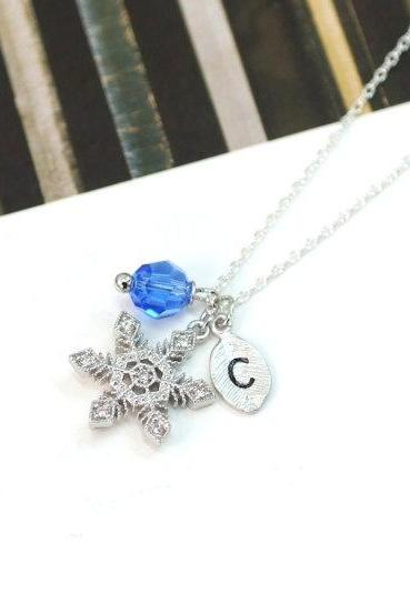 Crystal Snowflake Necklace Personalized Initial And Crystal Christmas Gift For Winter Bridesmaids Gifts Wedding Jewelry Gift