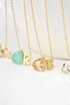 Stone Necklace Personalized Initial Necklace Initial Necklace Bridesmaid Gift Best Friend Necklace Mint Stone Clear Stone Peach Stone Opal