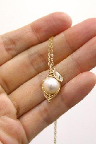 Pea In A Pod Necklace Initial Necklace Mom Mother Mother'S Day Baby Shower Gift Simple Necklace Pea Pod Necklace Pearl Necklace