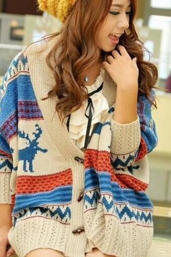 2015 New hot winter Bat Wing Coat Retro Knit Loose Sweater Cardigan